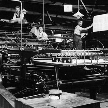 A photograph showing the main machine room of the Anchor Press (Tiptree, Essex) in 1933