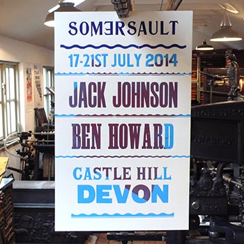 Somersault Festival wood type poster