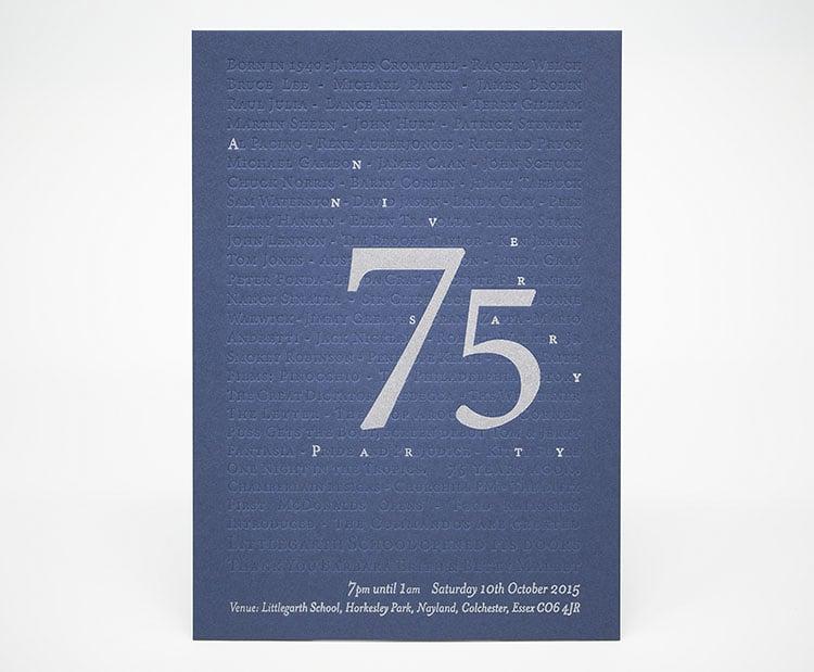 75th birthday letterpress invitation deboss 750