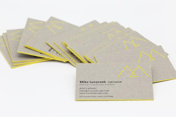 me landscape letterpress edge painted business cards greyboard fanned 750