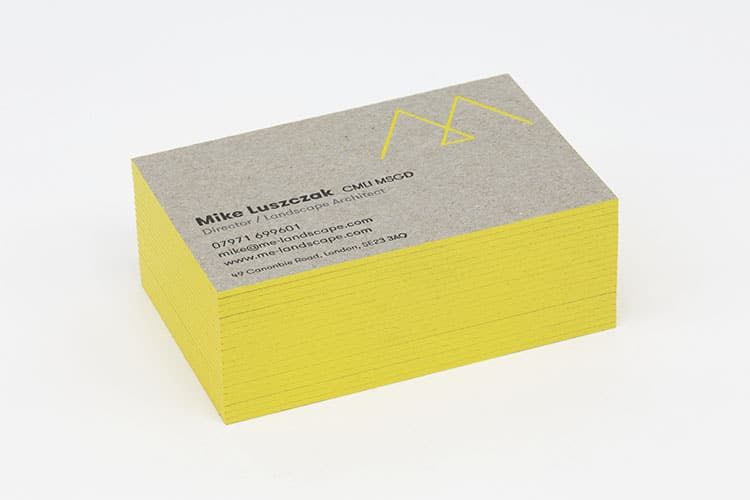 me landscape letterpress edge painted business cards greyboard stack 750