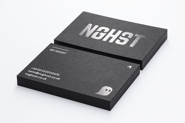 no ghost hot foil black gloss business cards stack 750