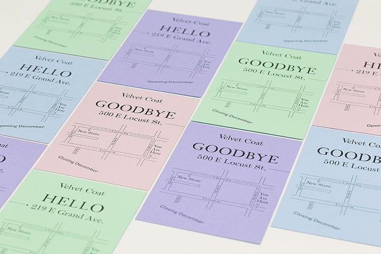 velvet coat letterpress hello goodbye cards colorplan 750