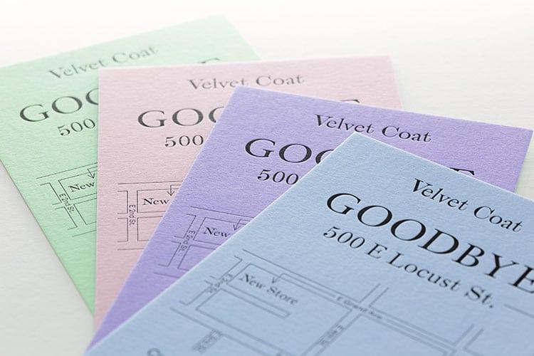 velvet coat letterpress hello goodbye cards colorplan deboss 750