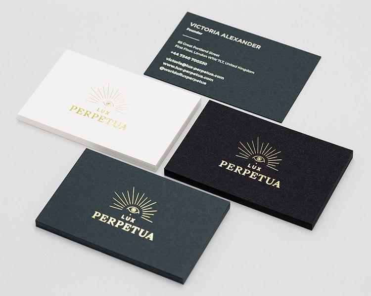 lux perpetua hot foil business cards 750
