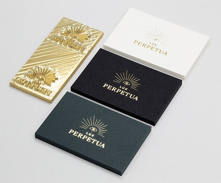 lux perpetua hot foil business cards and die 750