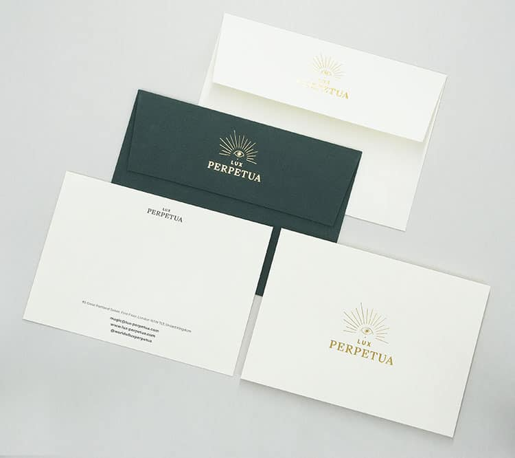 lux perpetua hot foil stationery notecards envelopes 750