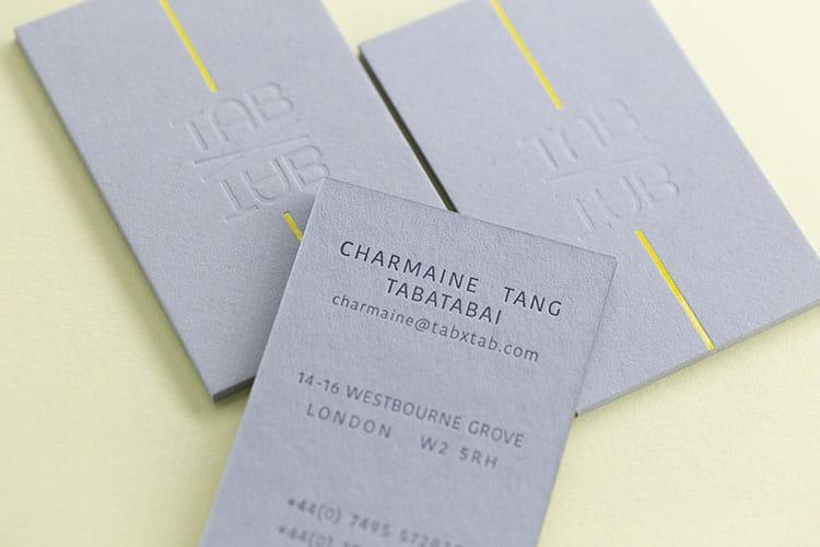 TAB X TAB business hot foil letterpress business cards Gmund back 750