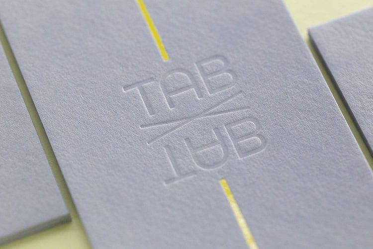 TAB X TAB business hot foil letterpress business cards Gmund detail 750