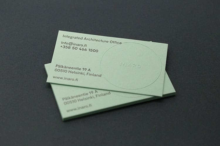inaro letterpress embossed business cards stack_750
