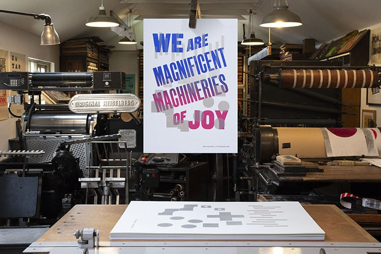 we are magnificent machineries of joy wood type poster hanging workshop close_750