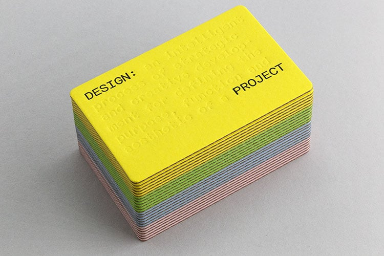 design project letterpress business cards gmund volume deboss die cut cards stack 750