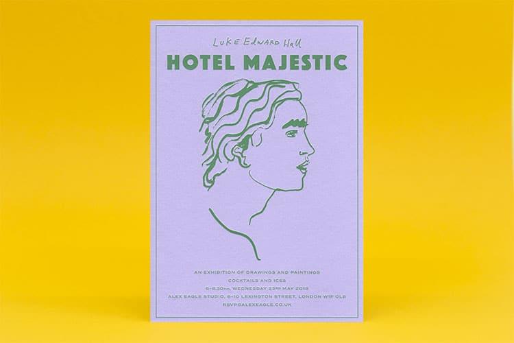 Luke Edward Hall letterpress printed HOTEL MAJESTIC colorplan lavender invite 750