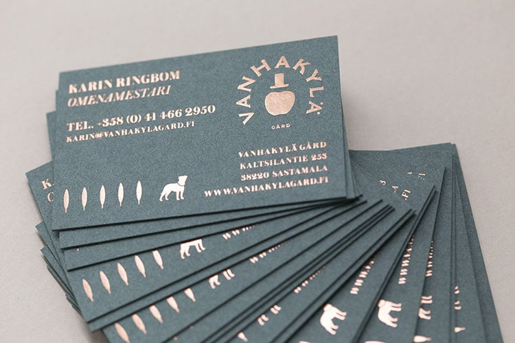 vanhakyla gard hot foil stamped business cards gmund colors fanned 3 750