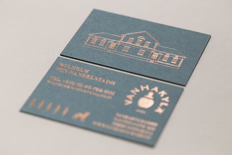vanhakyla gard hot foil stamped business cards gmund colors front and back 750