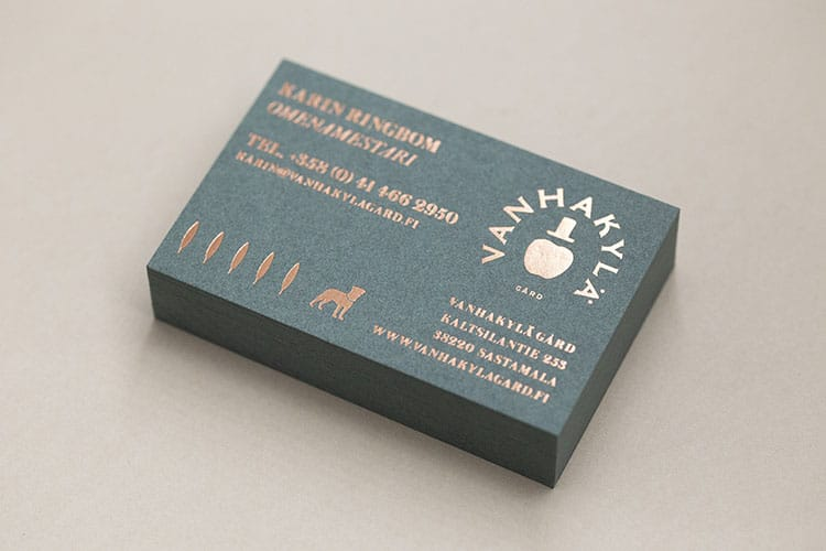 vanhakyla gard hot foil stamped business cards gmund colors stack 750
