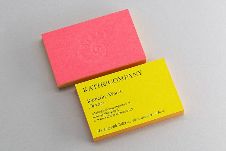 kath-and-company-business-cards-stack-duplexed-letterpress-blind-deboss-ampersand-front-and-back_750