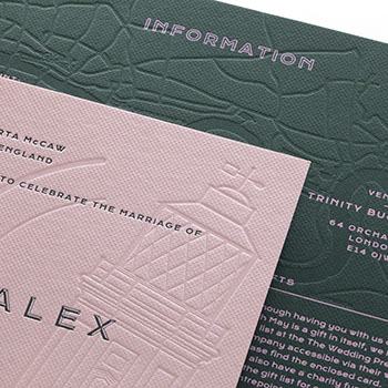 Hot foiled and letterpress printed wedding stationery on Colorplan Racing Green and Candy Pink card