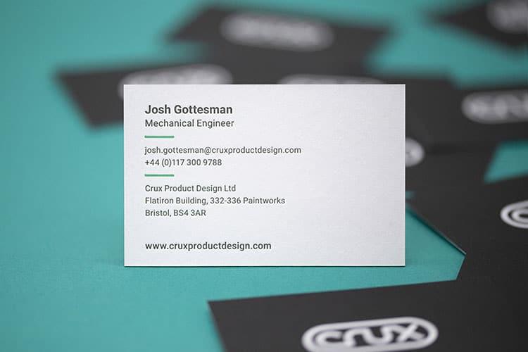 crux hot foil letterpress business cards duplex colorplan detail_750