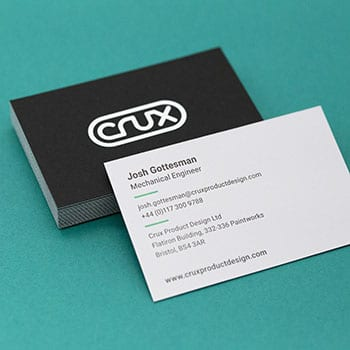 letterpress printed and white hot foil stamped business cards on duplexed Colorplan card stock
