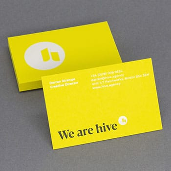 Hot foil stamped and letterpress printed business cards on Colorplan Factory Yellow card
