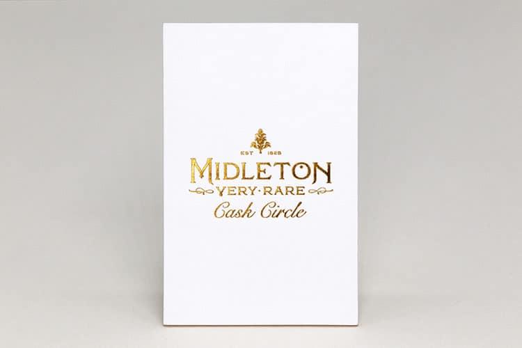 midleton cask circle letterpress hot foil business cards front_750