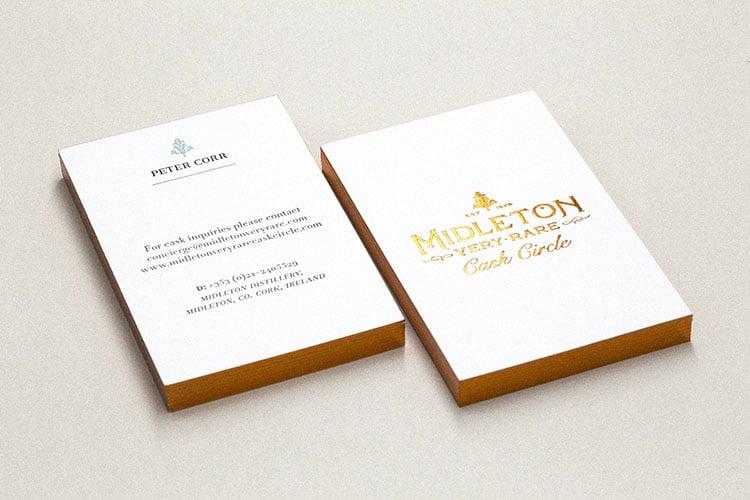 midleton cask circle letterpress hot foil business cards stacks_750