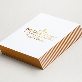 Copper foil gilt edged and letterpress printed business cards on heavyweight cotton card